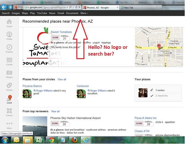 Google+ Local Search Bar Issue