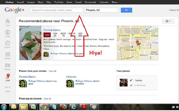 Google+ Local in Google Chrome with Search Bar