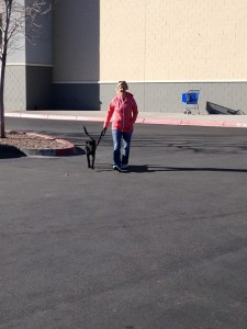 Denise walking Tommy Boy to the car